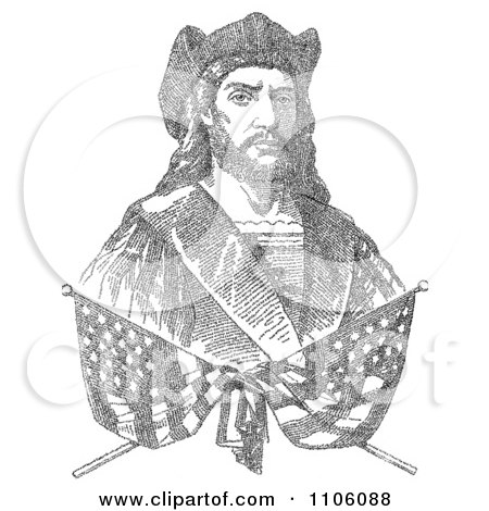 Two Crossed Flags Over A Bust Portrait Of Christopher Columbus Which Is Composed Of 41,819 Letters Representing The Biography Of Columbus - Royalty Free Historical Stock Illustration by JVPD
