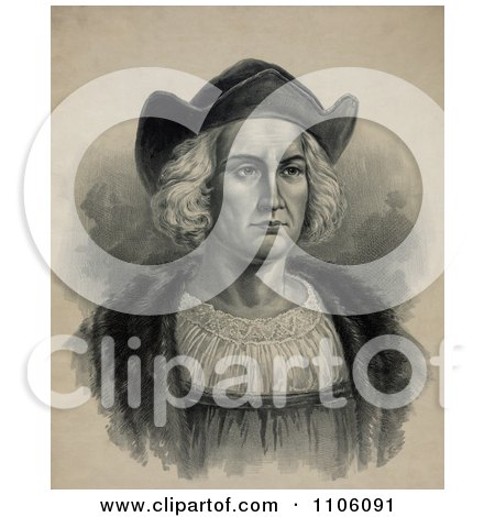 Portrait of Christopher Columbus Wearing a Hat - Royalty Free Historical Stock Illustration by JVPD