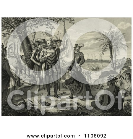 Curious Natives Watching a Man Kneeling and Bowing to Christopher Columbus and His Men Upon Landing in the New World - Royalty Free Historical Stock Illustration by JVPD
