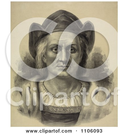 Portrait Of Christopher Columbus Facing Front And Wearing A Hat - Royalty Free Historical Stock Illustration by JVPD