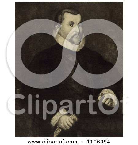 Portrait Of A Portrait Of Christopher Columbus Seated In A Chair With His Body Slightly To The Right And His Head Looking Towards The Viewer - Royalty Free Historical Stock Illustration by JVPD