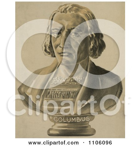 Bust Statue of Christopher Columbus - Royalty Free Historical Stock Illustration by JVPD