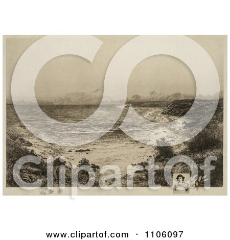 Grassy Shore, The First Landing Place of Christopher Columbus, San Salvador, Marie-Galante or Canary Island - Royalty Free Historical Stock Illustration by JVPD