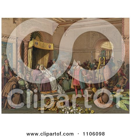 Christopher Columbus With Natives From The New World, Standing Proudly Before The King And Queen Of Spain, King Ferdinand And Queen Isabella, At The Court Of Barcelona, Spain In February Of 1493 - Royalty Free Historical Stock Illustration by JVPD