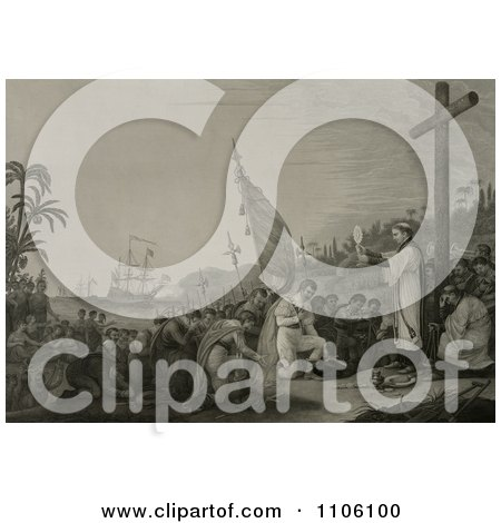 Christopher Columbus And His Crew Men Kneeling In Front Of A Priest During A Religious Service At A Large Cross During The First Landing In The New World - Royalty Free Historical Stock Illustration by JVPD
