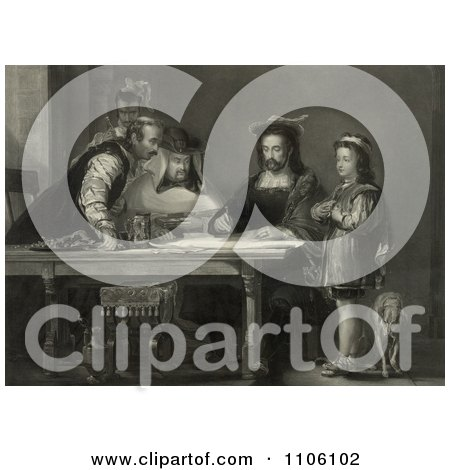 Little Boy, Probably Diego Colon, And A Dog Standing By A Table Where Christopher Columbus And Three Other Men Listen As Columbus Proposes His Theory Of A New World With Maps - Royalty Free Historical Stock Illustration by JVPD