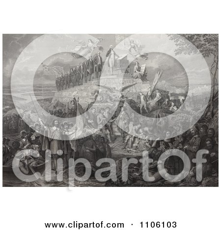 Christopher Columbus, Pilgrims, Battles and Presidents - Royalty Free Historical Stock Illustration by JVPD