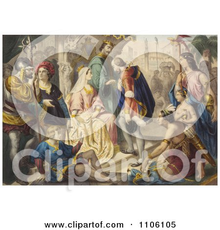 Christopher Columbus Being Greeted by King Ferdinand and Queen Isabella - Royalty Free Historical Stock Illustration by JVPD