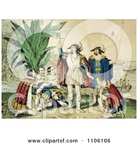 The Landing of Columbus October 11th 1492 - Royalty Free Historical Stock Illustration by JVPD