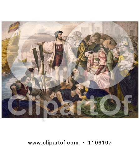 Christoper Columbus and His Crew Leaving the Port of Palos, Spain - Royalty Free Historical Stock Illustration by JVPD