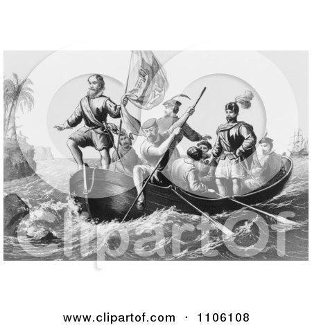 The Landing of Columbus at San Salvador - Royalty Free Historical Stock Illustration by JVPD