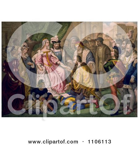 Christopher Columbus Kneeling in Front of Queen Isabella I And King Ferdinand V - Royalty Free Historical Stock Illustration by JVPD