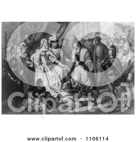Christopher Columbus Kneeling in Front of Queen Isabella I - Bla - Royalty Free Historical Stock Illustration by JVPD