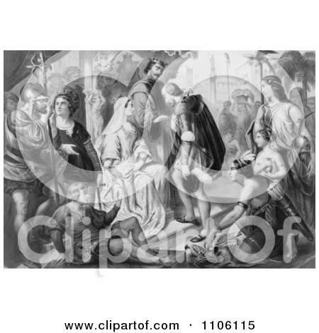 Columbus Being Greeted by King Ferdinand and Queen Isabella - Royalty Free Historical Stock Illustration by JVPD