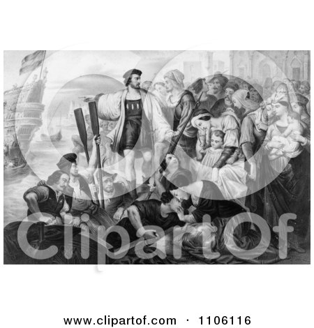 Christoper Columbus and His Crew Leaving the Port of Palos, Spai - Royalty Free Historical Stock Illustration by JVPD