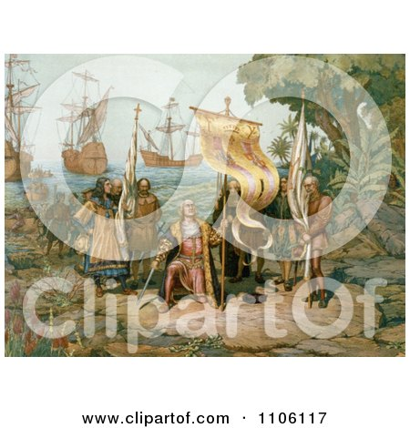 Columbus Taking Possession of the New Country - Royalty Free Historical Stock Illustration by JVPD