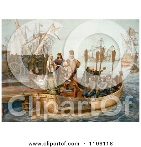 The First Voyage of Christopher Columbus - Royalty Free Historical Stock Illustration by JVPD
