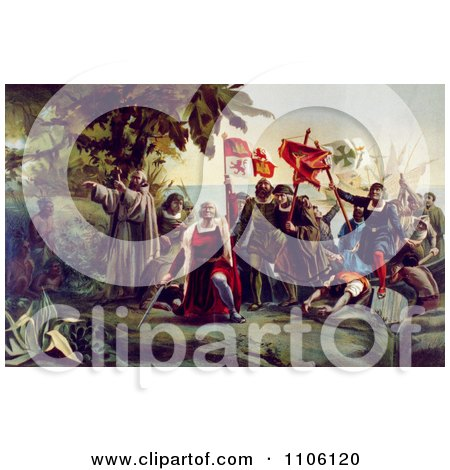 The First Landing of Columbus on the Shores of the New World - Royalty Free Historical Stock Illustration by JVPD