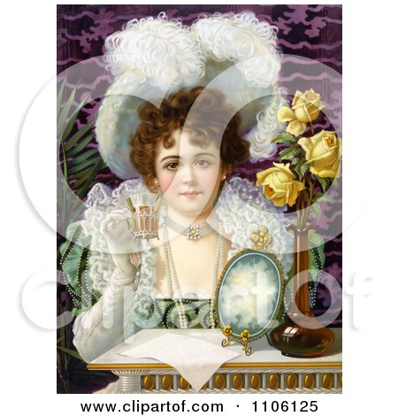 Vintage Advertisement of an Elegant Woman Drinking From a Cup - Royalty Free Historical Stock Illustration by JVPD