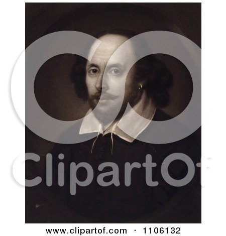 Sepia Portrait of William Shakespeare - Royalty Free Historical Stock Illustration by JVPD
