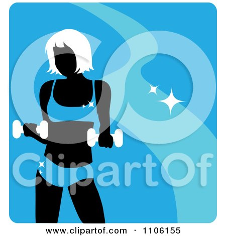 Clipart Blue Fitness Avatar With A Woman Working Out With Dumbbells - Royalty Free Vector Illustration by Rosie Piter