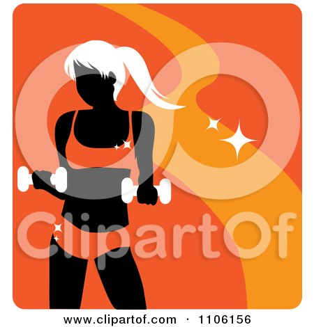 Clipart Orange Fitness Avatar With A Woman Working Out With Dumbbells - Royalty Free Vector Illustration by Rosie Piter