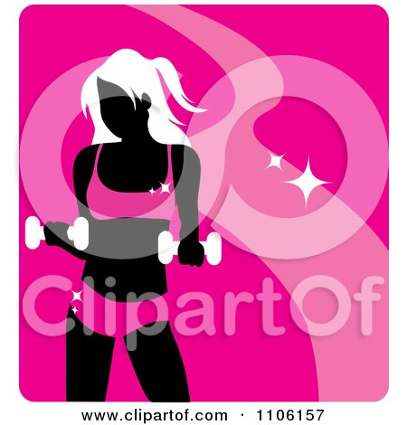 Clipart Pink Fitness Avatar With A Woman Working Out With Dumbbells - Royalty Free Vector Illustration by Rosie Piter