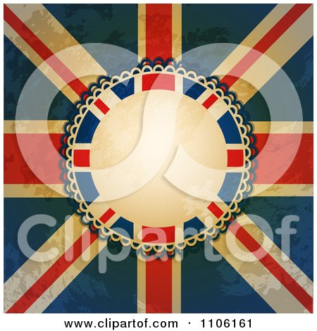 Clipart Distressed Grungy Union Jack Flag And Rosette With Copyspace - Royalty Free Vector Illustration by elaineitalia