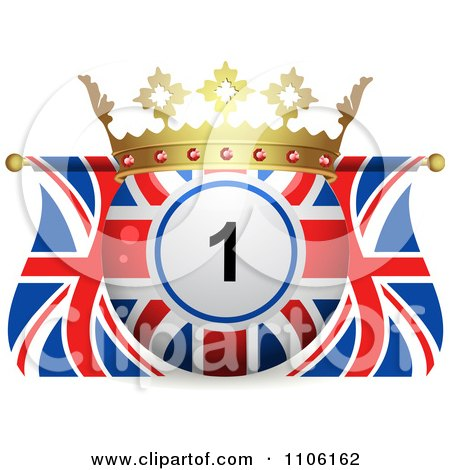 Clipart 3d Crowned Bingo Ball And Union Jack Flags - Royalty Free Vector Illustration by elaineitalia