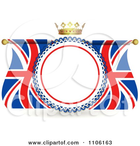 Clipart Crown Over A Rosette Frame With Union Jack Flags - Royalty Free Vector Illustration by elaineitalia