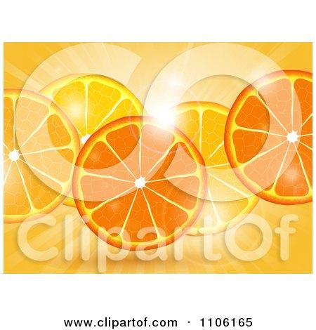 Clipart Fresh Orange Slices Over Flares And Rays - Royalty Free Vector Illustration by elaineitalia