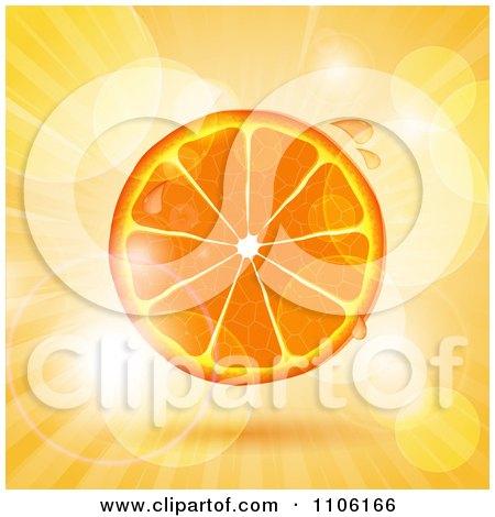 Clipart Juicy Orange Slice Over Flares And Rays - Royalty Free Vector Illustration by elaineitalia