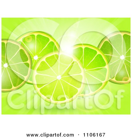 Clipart Fresh Lime Slicess Over Flares And Rays - Royalty Free Vector Illustration by elaineitalia