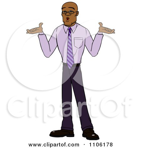 Clipart Careless Black Business Man Shrugging His Shoulders - Royalty Free Vector Illustration by Cartoon Solutions