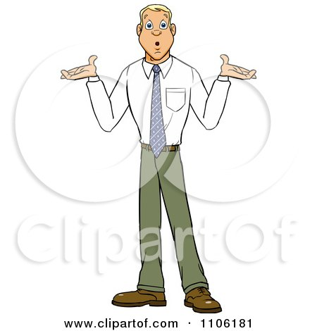 Clipart Careless Young Business Man Shrugging His Shoulders - Royalty Free Vector Illustration by Cartoon Solutions