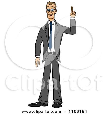 Clipart Skinny Business Man With An Idea Or An Aha Moment - Royalty Free Vector Illustration by Cartoon Solutions