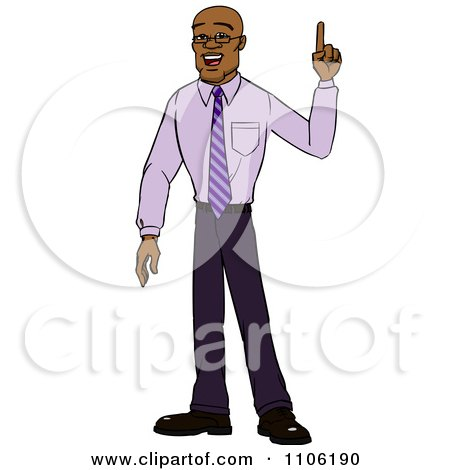 Clipart Black Business Man With An Idea Or An Aha Moment - Royalty Free Vector Illustration by Cartoon Solutions