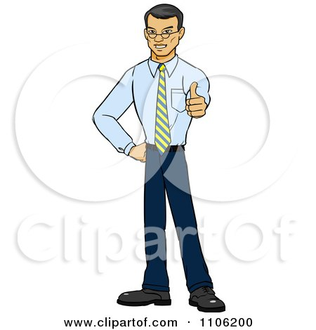 Clipart Happy Asian Business Man Holding A Thumb Up - Royalty Free Vector Illustration by Cartoon Solutions