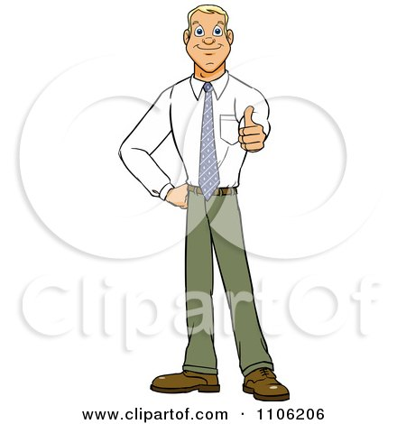 Clipart Happy Young Business Man Holding A Thumb Up - Royalty Free Vector Illustration by Cartoon Solutions