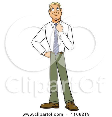 Clipart Young Business Man In Thought With Her Finger To Her Chin - Royalty Free Vector Illustration by Cartoon Solutions