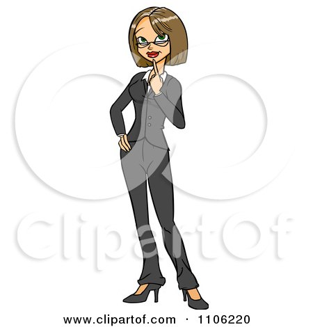Clipart Business Woman In Thought With Her Finger To Her Chin - Royalty Free Vector Illustration by Cartoon Solutions