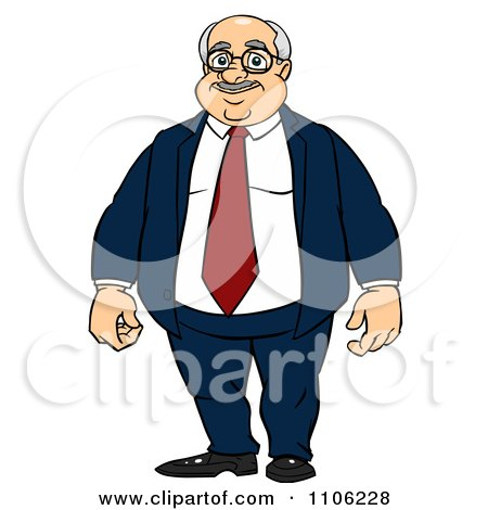 Clipart Proud Professional Fat Business Man Posing - Royalty Free Vector Illustration by Cartoon Solutions