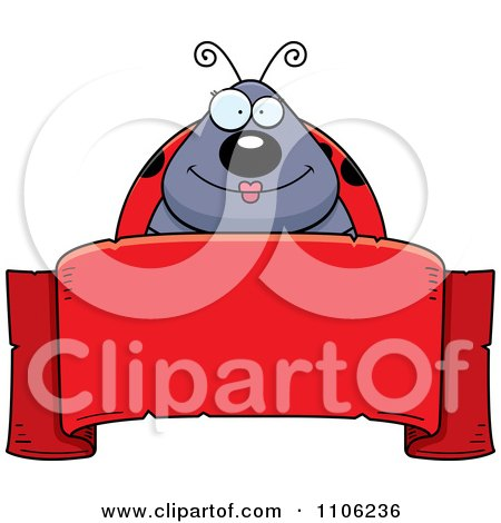 Clipart Happy Ladybug Over A Red Ribbon Banner - Royalty Free Vector Illustration by Cory Thoman