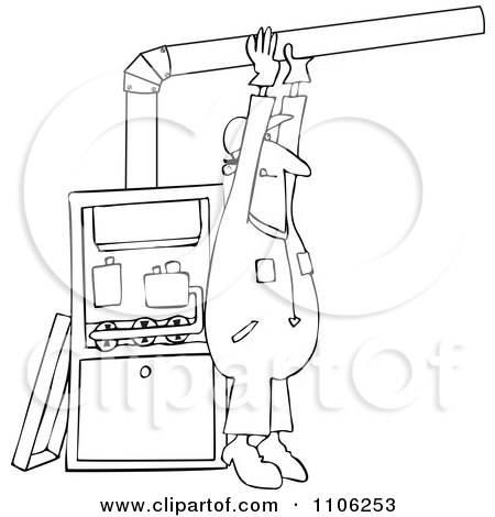 Clipart Outlined Furnace Installer Man Adjusting A Pipe - Royalty Free Vector Illustration by djart