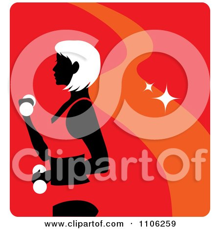 Clipart Red Fitness Avatar With A Woman Working Out Doing Alternating Bicep Curls With Dumbbells - Royalty Free Vector Illustration by Rosie Piter
