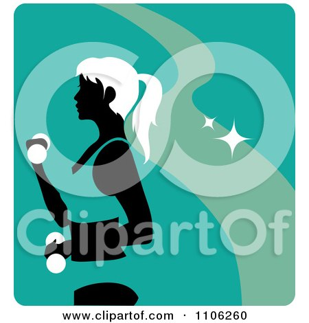 Clipart Turquoise Fitness Avatar With A Woman Working Out Doing Alternating Bicep Curls With Dumbbells - Royalty Free Vector Illustration by Rosie Piter