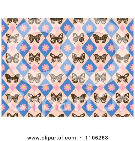 Clipart Seamless Diamond Butterfly And Floral Pattern - Royalty Free Vector Illustration by Cherie Reve