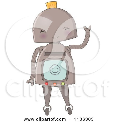 Clipart Happy Robot Waving - Royalty Free Vector Illustration by Melisende Vector