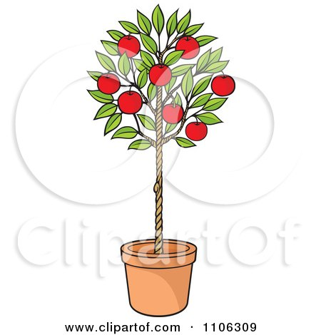 Clipart Potted Apple Tree With Red Fruit - Royalty Free Vector Illustration by Any Vector