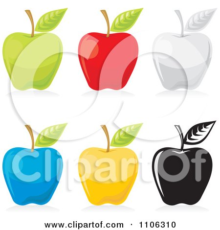 Clipart Green Red Gray Blue Yellow And Black And White Apple Icons - Royalty Free Vector Illustration by Any Vector